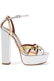 AQUAZZURA Luna metallic leather platform sandals♥✿♥