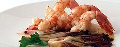 La ricetta proposta dal Ristorante Da Celeste di Venegazzù: Gamberi con radicchio di Treviso marinato