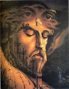 """Jesus Great painting called """"Calvary"""" by Octavio Ocampo. Crucifixion and faces Jesus Optical Illusion, Jesus Illusion, Optical Illusion Paintings, Optical Illusions Pictures, Illusion Pictures, Art Optical, Illusion Art, Funny Illusions, One Photo"""