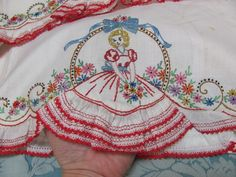 VTG *SUPREME* SOUTHERN BELLE LAVISH Hand-Embroid PILLOWCASES w/RUFFLES-BOWS $NR$