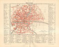1890 Original Antique City Map of Königsberg by CabinetOfTreasures