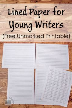 Lined Paper for Young Writers - Free, printable, unmarked ruled sheets for kindergarten, grade, and grade Kindergarten Writing, Teaching Writing, Writing Activities, Kindergarten Lined Paper, Writing Ideas, Preschool Activities, Writing Websites, Writing Practice, Preschool Learning