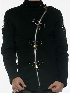 TRIPP NYC MENS BLACK BONDAGE ZIP OFF CYBER GOTH INDUSTRIAL JACKET
