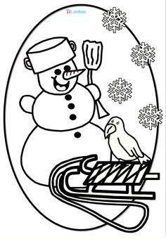 Omalovánka - zima, sněhulák