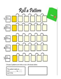 Roll a Pattern Math Math Patterns, Number Patterns, 7th Grade Math, Grade 1, Teaching Time, Teaching Ideas, Fun Math, Math Games, Math Classroom