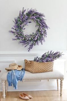For the Love of Lavender - Fabulous Faux Florals - Sand and Sisal Faux Lavender Wreath - Spring Deco Lavender Decor, Lavender Wreath, Lavender Flowers, Lavender Plants, Lavender Ideas, Faux Flowers, Spring Home Decor, Diy Home Decor, Diy Spring Decorations