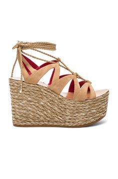 Pura Lopez Lace Up Wedge in Arena Suede