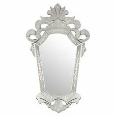 "Baroque-inspired wall mirror with etched details.   Product: MirrorConstruction Material: Mirrored glass and stainless steelColor: ClearFeatures: Romantic styleDimensions: 50.75"" H x 30"" W x 1"" D"