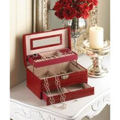 Red Large Jewelry Case - AC Treasures | Scott's Marketplace