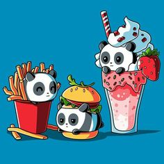 Panda foods, burger fries and shake