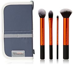 Real Techniques Core Collection Hand Cut Hair Design Makeup Brush Set, Includes: Detailer, Pointed Foundation, Buffing and Contour Brushes, with Brush Case/Stand Cheap Makeup Brushes Set, Best Cheap Makeup, Makeup Brush Set, Best Makeup Products, Beauty Products, Beauty Tips, Real Techniques, Hair Cutting Techniques, Makeup Techniques