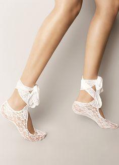 Veneziana - Veneziana Bağlamalı Soket socks BABETTE-MARYLIN-BIANCO white