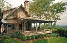 ~ I LOVE this truly rustic yet amazing charming Cabin ~ Look at that Porch ~ and that View ~ ! ~   ~Thank God I'm a Country Girl!~ ♥     standout-cabin-designs.com