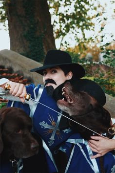 The Three Musketeers is the best Halloween costume idea for a couple and their dog, or a single dog mom with 2 dogs! I bought 3 boys Halloween costumes, it's a poncho style and it worked for me and the dogs! Plus, kids costumes are cheaper than adults! This is an easy group costume or family costume with dogs. The 3 Musketeers is a classic costume, plus you can hand out the 3 Musketeers candy bars! Get the tutorial and more dog mom halloween costume ideas on my blog, Wear Wag Repeat! Family Costumes, Family Halloween Costumes, Halloween Kids, Durable Dog Toys, Me And My Dog, Chocolate Labs, 3 Boys, Candy Bars, Musketeers