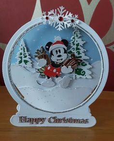 Mickey Ears, Disney Mickey Mouse, Mickey Christmas, Christmas Crafts, Tattered Lace Cards, Disney Cards, Cricut Cards, Create And Craft, Xmas Cards