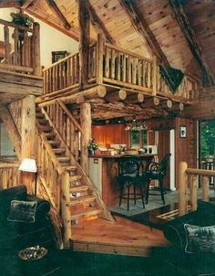 Log cabin living room and loft
