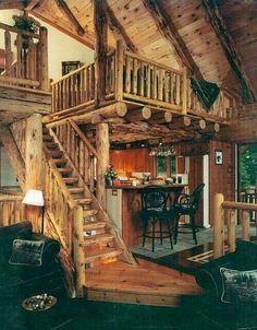 Log cabin living room and loft