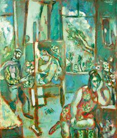 "Gennady Glakhteev ""At the Green Workshop"" 1972 74х62  Геннадий Глахтеев ""В зеленой мастерской "" 1972 74х62"