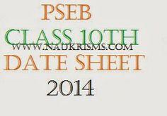 Punjab Board 10th Class Time Table 2014 | PSEB 10th Date Sheet 2014