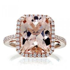 Morganite cushion 11x9 halo diamond solitaire engagement ring 14k rose gold