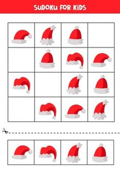 Premium Vector | Sudoku game for children. cute faces of animals. Christmas Worksheets, Worksheets For Kids, Origami Toys, Abc Cards, Time Cartoon, Santa Claus Hat, Retro Background, Educational Games For Kids, Funny Presents