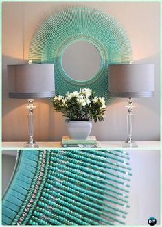 DIY Turquoise Bead Mirror -DIY Decorative Mirror Frame Ideas and Projects Beaded Mirror, Diy Mirror, Turquoise Beads Diy Mirror Decor, Mirror Crafts, Mirror Decorations, Beaded Mirror, Mirror Mosaic, Mirror Mirror, Dyi Mirror Frame, Wall Mirrors, Mirror Ideas