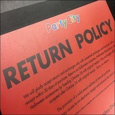 If your affair doesn't come across as planned, you really can't blame Party City, but just in case read the Return Policy Counter Mat Communique on. Just In Case, Counter, Retail, How To Plan, Sleeve, Retail Merchandising