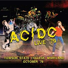 """Live - Towson State College, Maryland October Rowdy live performance from the Bon Scott-led line-up, recorded at Towson State College in Maryland in October 1979 on their """"Highway To Hell"""" tour! Maryland, Ac Dc Rock, 80s Rock, Vintage Music Posters, Bon Scott, Greatest Rock Bands, State College, Band Posters, Cards For Friends"""