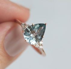 Light Jeans Blue Sapphire Diamond Ring - Praise