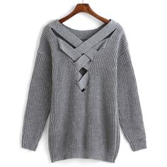 Crisscross-Back Hollow Sweater ($19) ❤ liked on Polyvore featuring tops, sweaters, grey, sweater pullover, gray sweater, loose pullover sweater, long sleeve sweaters and knit pullover