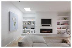Home Fireplace, Modern Fireplace, Living Room With Fireplace, Fireplace Design, Contemporary Fireplaces, Modern Lounge Rooms, Family Room Design, Living Room Tv, Design Case