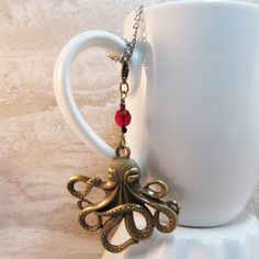 Octopus Tea Infuser Charm-Jules Verne by CamilleLaLune on Etsy