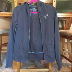 American Eagle Zip up Hoodie This hoodie is lightweight and really soft. The navy color goes with everything. American Eagle Outfitters Jackets & Coats Utility Jackets