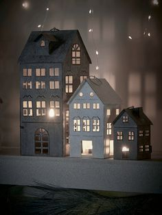 For a contemporary twist on traditional Christmas décor, our set of three tall metal tea light houses is inspired by Scandinavian architecture, featuring steeply gabled roofs and petite windows to allow the light from your candle to shine through. Christmas Trends, Christmas Colors, Christmas Home, Hygge Christmas, Rustic Christmas, Christmas Crafts, Xmas, Decorating With Christmas Lights, Christmas Candles