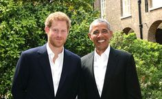 Prince Harry (left) with US President Barack Obama following a meeting at Kensingto...