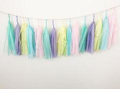 Tissue paper tassel,tassel garland,rainbow tassel Garland,rainbow banner,ice cream party,birthday party garland,Pastel garland,trolls party
