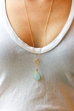Long gold necklace long lariat necklace blue stone by SeaAndCake, $84.00