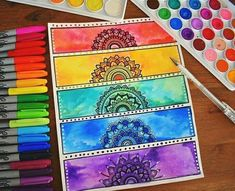 me watercolor mandala, mandala drawing, zentangle art ideas Watercolor Mandala, Mandala Drawing, Mandala Artwork, Watercolor Rose, Arte Sharpie, Creative Bookmarks, Diy Bookmarks, Bookmark Craft, Posca Art