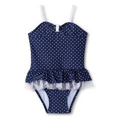 Girls' Polka Dot One Piece Tutu Swim Suit $12.00
