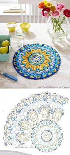 Crochet mandala rug crafts 68 New Ideas Motif Mandala Crochet, Mandala Rug, Crochet Coaster Pattern, Crochet Doily Patterns, Crochet Diagram, Crochet Chart, Crochet Squares, Crochet Granny, Crochet Doilies