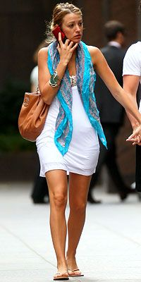 casual summer outfit - white dress blue scarf