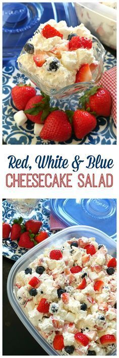 Red, White & Blue Cheesecake Salad! This berry cheesecake dessert is perfect for Memorial Day and 4th of July with strawberries, blueberries and cream cheese filling.