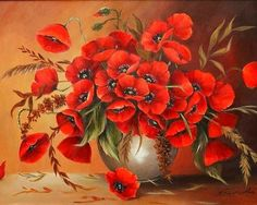 Red Poppies in Neutral Vase. Square drill, 7 kit sizes to pick from. Paintings Famous, Beautiful Paintings, Art Floral, Poppy Bouquet, Plant Drawing, Drawing Flowers, Art For Art Sake, Red Poppies, Poppy Flowers