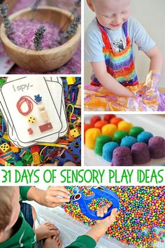 Engage all of the senses with 31 days worth of simple-to-set-up and fun to play and explore sensory play ideas for kids of all ages. Perfect for home, preschool or kindergarten - plus BIG kids… Sensory Table, Sensory Bins, Sensory Activities, Sensory Play, Activities For Kids, Sensory Motor, Sensory Bottles, Baby Sensory, Preschool Ideas