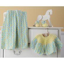"Cherished Baby Layette Set - CROCHET kit incl. yarn & instructions - 34"" x 36"" - great shower gift."