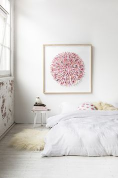 bedroom and paper feather art