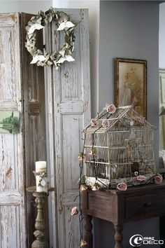 Birdcage with roses