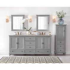 Home Decorators Collection Newport 20 in. H x 14 in. D Bathroom Linen Storage Floor Cabinet in - The Home Depot Bathroom Renos, Bathroom Renovations, Bathroom Furniture, Bathroom Interior, Small Bathroom, Master Bathroom, Design Bathroom, Linen Cabinets, Bath Cabinets