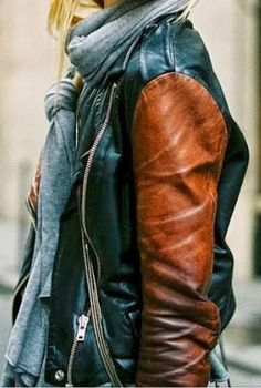 Classic Double Tone Leather Jacket With Scarf