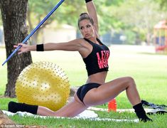 Showing off her own lethal weapons: Jennifer Nicole Lee was showing off her impressive shape as she worked out in Miami